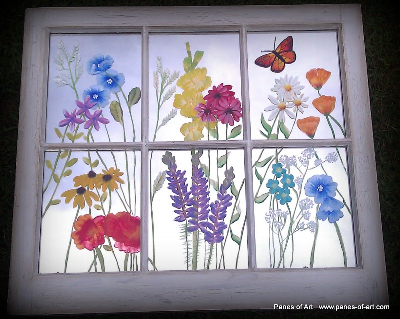 Panes of art barn quilts hand painted windows window for Window design art