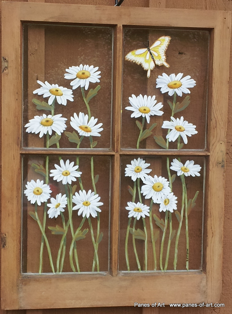 Panes of art barn quilts hand painted windows window for Painting on glass windows with acrylics
