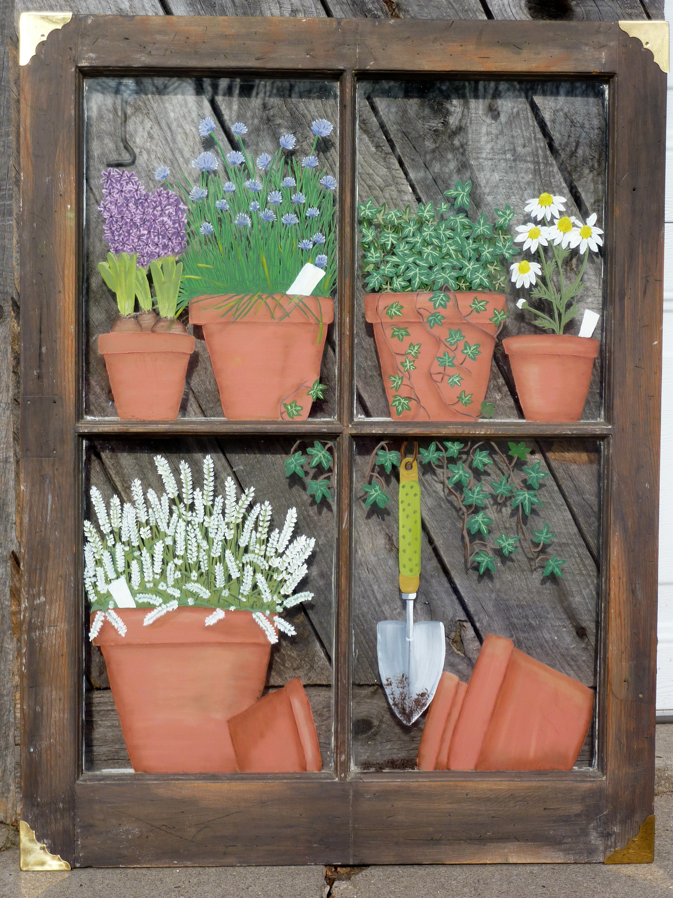 Hand painted window panes, barn quilts, herb bundles, mirrors &; memory