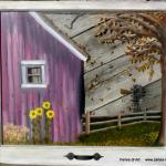 """A Day on the Farm"" Price, USD: Status: SOLD Size (inches): 21 1/4h x 25 3/4w Media: Paint on Glass NOTE: This whimsical barn yard scene was created with my great grandparent's old farm in mind (located in upstate New York).  It would be a great piece anywhere in your home."