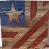 """Flag"" barnquilt pattern Price, USD: $400 Status: AVAILABLE Size : 4ft x 4ft  Media: Paint on old barn wood. NOTE: Can be displayed inside or outside. Instead of white I decided to let the natural barnwood finish take it's place as that is the piece's main feature."